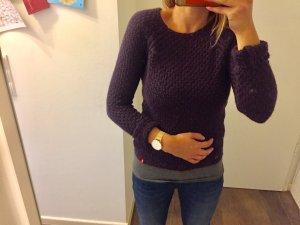 Pullover schlicht lila Strickpullover langärmlig Oberteil