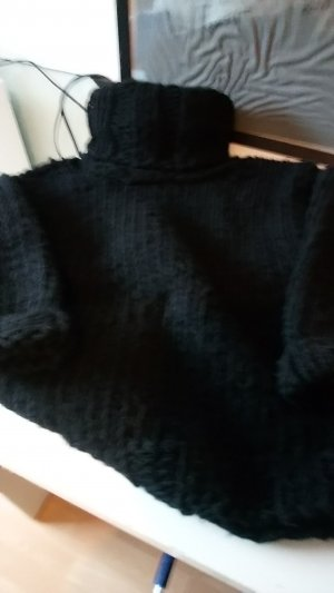 Coarse Knitted Sweater black new wool