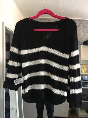 H&M Pullover all'uncinetto bianco-nero