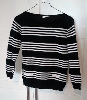 Pullover schwarz creme gestreift von Jake*S Gr. S 36