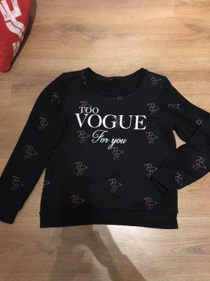 Pullover schwarz Flamingo Fame on you Vogue S 34 36 weiß Pulli Paris