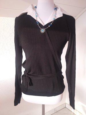 Pullover schwarz mit eingearbeiteter weißen Bluse,Gr.S/36