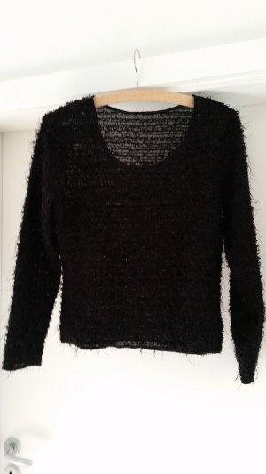 Pullover, schwarz, mit Glitzerfäden