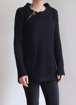 Pullover, schwarz mit goldenem Reißverschluss Größe S/M