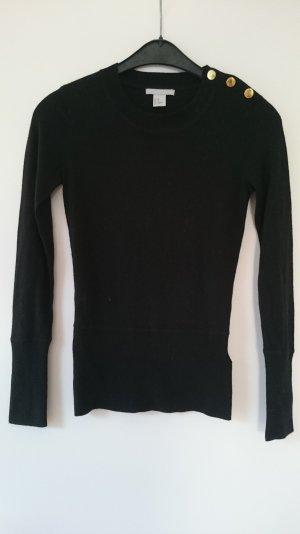 Pullover schwarz mit goldenen Knöpfen