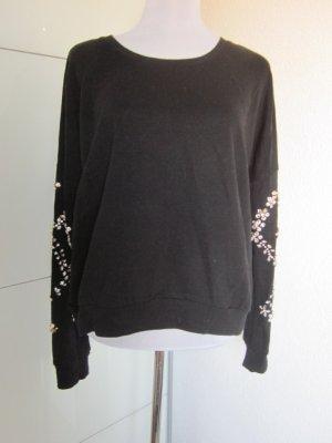 Pullover schwarz mit Strass Applikationen an den Ärmeln Gr L