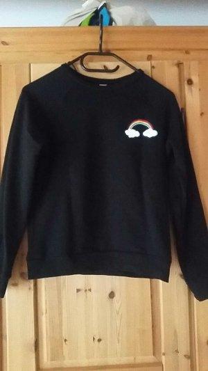 Pullover schwarz Regenbogen Patch