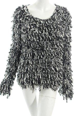 Pullover schwarz-weiß Kuschel-Optik
