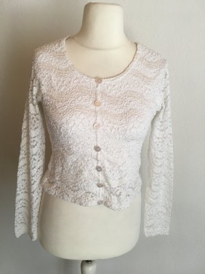 Pullover Shirt Cropped weiß Spitze sexy Gr. M