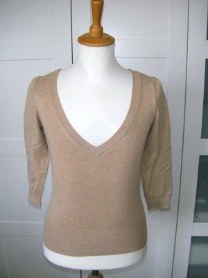 Pullover, Shirt, dreiviertelarm, beige, hellbraun, H&M, Gr. 36