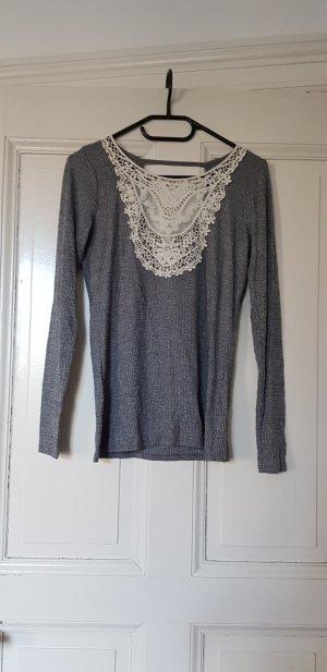 Pullover Shirt Hollister grau weiß