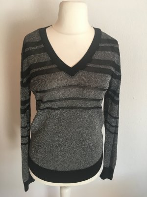 Pullover Shirt leicht V-Neck schwarz silber Gr. M