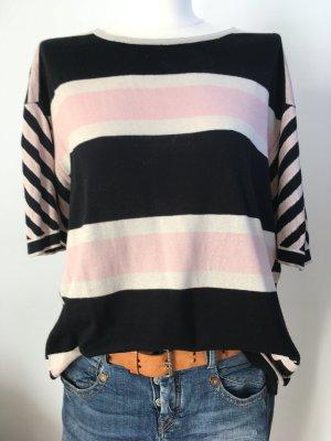Pullover Shirt Marc by Marc Jacobs oversized Seide Cashmere rose schwarz wollweiß gestreift