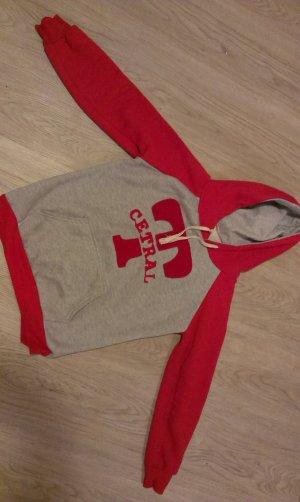 Jersey con capucha rojo-gris claro