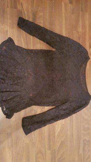Pullover Spitze Spitzenbluse Schwarz Schößchen - Gr. 36/38