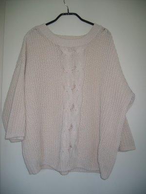 Pullover Stickpullover oversized Zopf Gr. 38 wollweiß H&M