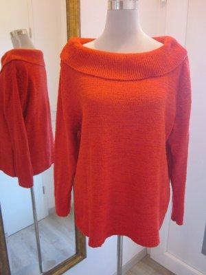 Pullover Strick großer Kragen Rot Gr 44  #Giorgio