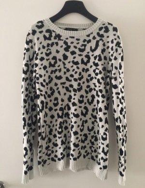 Mango Kraagloze sweater wit-zwart