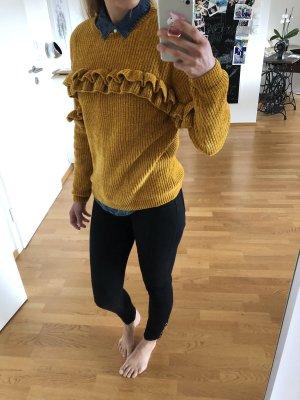Pullover Strick Oberteil Bluse Mode Blogger Fashion gelb Senfgelb zara Orsay xs s 34 36