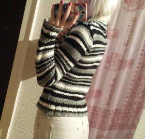 Pullover Strick Rollkragen Gestreift Karo Winter Warm Blogger Trend