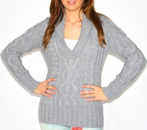 Pullover strick V- Ausschnitt Grau Neu Gr. S