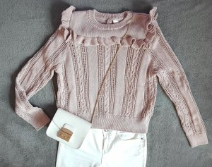 Pullover Strick Zopfmuster Rüschen Puderrosa Nude H&M Gr. L