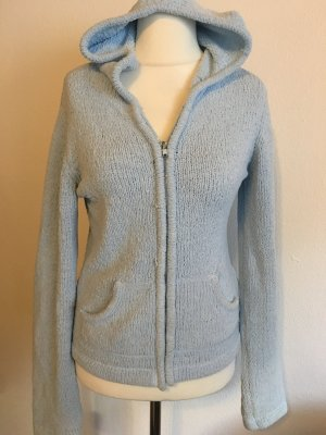 Pullover Strickjacke mit Kapuze Zipper warm kuschelig hellblau Gr. S