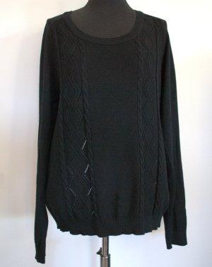 Pullover Strickoberteil schwarz mit feinem Zopf-u.Lochmuster, Gr L/ca. 40 VILA