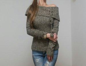 Pullover Strickpulli Offschoulder Oberteil