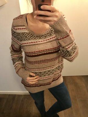 Pullover Strickpullover langärmlig runder Ausschnitt Muster