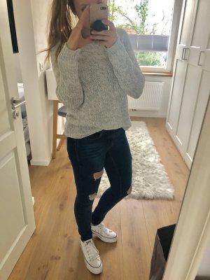 Pullover Strickpullover mit Glitzer Winter langärmlig Oversized