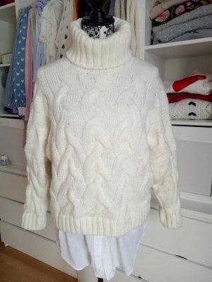 Pullover Strickpullover Strick Weiß Creme Beige S M 36 38