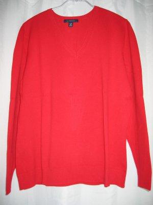 Pullover Strickpullover V-Ausschnitt Gr. 40 rot LANDS' END