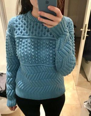 Pullover Struktur Muster blau 34 Baumwolle