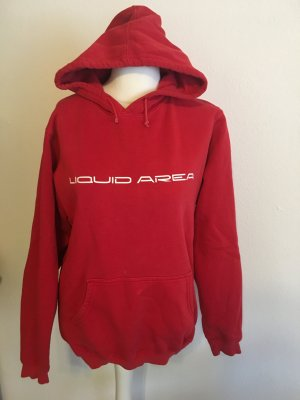 Pullover Sweater Hoodie mit Kapuze rot oversized Gr. S