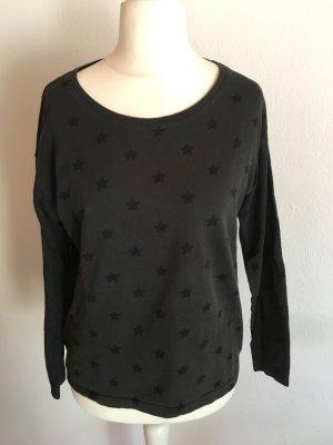 Pullover Sweater Sweatshirt dunkelgrau mit Sternen Gr. S