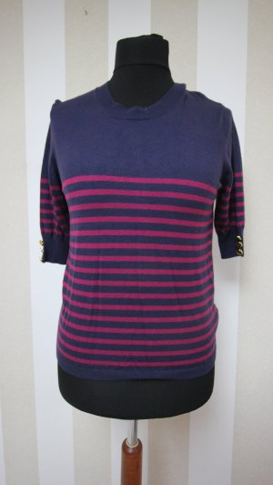 Sweater met korte mouwen donkerblauw-framboosrood