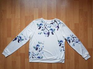 Pullover Sweatshirt mit Blumenprint Blumen Blau Weiß Plus Size Asos Größe 44