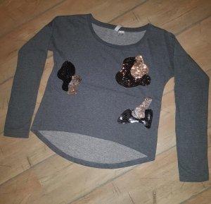 Pullover Sweatshirt mit Pailletten Details - Gr. 32/34 - grau