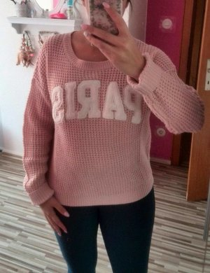 Pullover Tally Weijl blogger hipster S/M nude creme rosa Strick Häkel PARIS