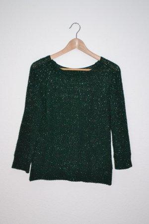 Pullover tannengrün Lurex silber 3/4 Arm Strick