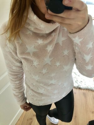 Pullover in pile bianco-rosa pallido