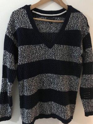 Tommy Hilfiger Grof gebreide trui donkerblauw-wit