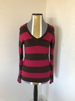 Tommy Hilfiger V-Neck Sweater raspberry-red-dark brown