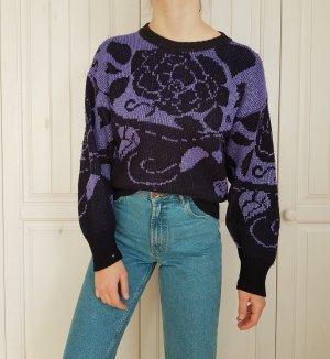 Pullover True Vintage Pulli violett oversize schwarz lila silber rosen hoodie sweater
