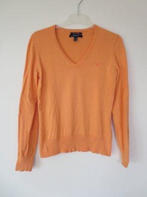 Gant V-Neck Sweater light orange cotton