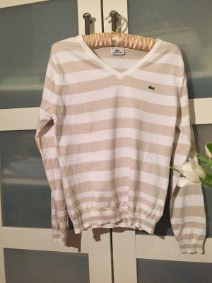 Pullover V-Ausschnitt Lacoste Streifen weiß beige