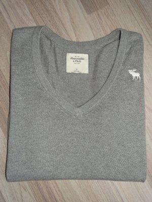 Pullover V-Ausschnitt Langarm Grau Gr.S Abercrombie&Fitch (NP: 74€)