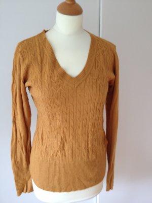 Pullover V-Ausschnitt mit Zopfmuster