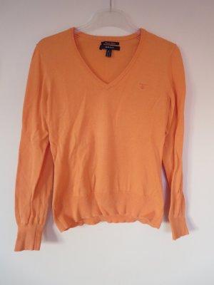 Pullover V-Ausschnitt orange M Baumwolle